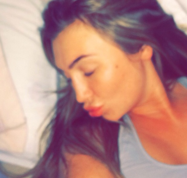 Lauren Goodger takes a selfie while in bed with illness - 16 April 2014