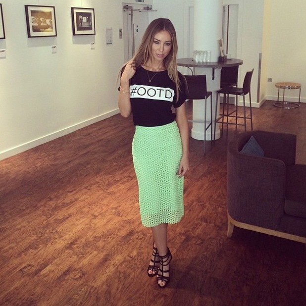 TOWIE's Lauren Pope poses in a T-shirt from her inthestyle.co.uk collection while in Manchester, England - 14 April 2014