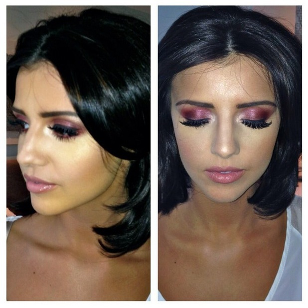Lucy Mecklenburgh wears shimmery smoky cranberry eyeshadow by make-up artist Ashley Parkin for a night out in Manchester - 16 April 2014