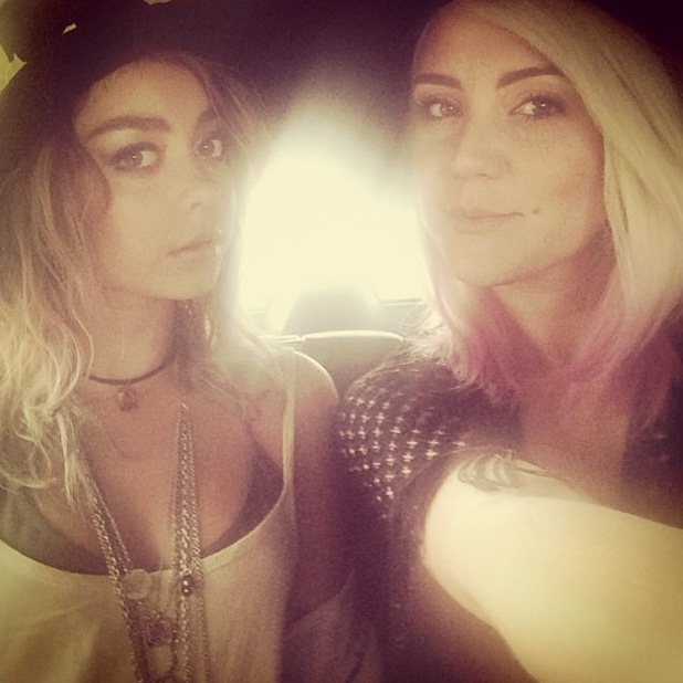 Modern Family star Sarah Hyland shows off new blonde ombre hair while at Coachella - California, America - 13 April 2014