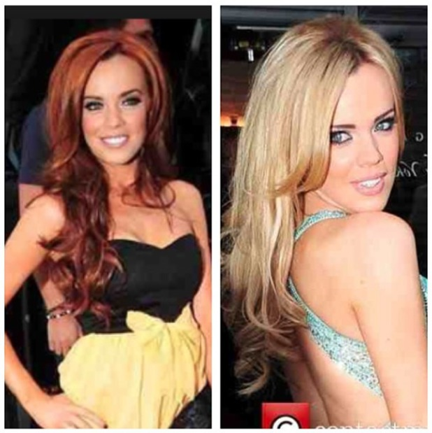 Maria Fowler shows off her red and blonde looks before getting new blonde Easilocks hair extensions, 15 April 2014