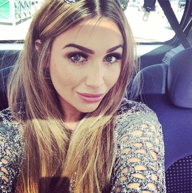 Lauren Goodger takes a selfie while going to watch the London Marathon - 16 April 2014