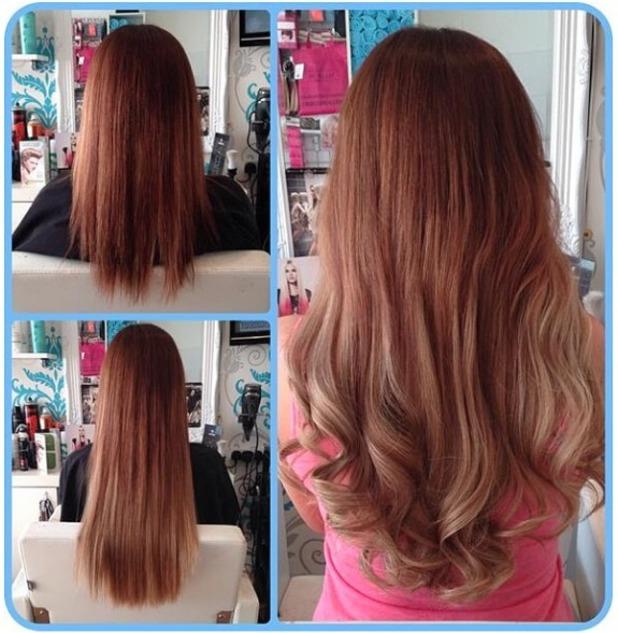 Maria Fowler shows off her new blonde Easilocks hair extensions, 15 April 2014