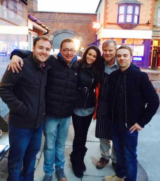 Michelle Keegan films one of her final scenes on the set of Coronation Street (16 April).
