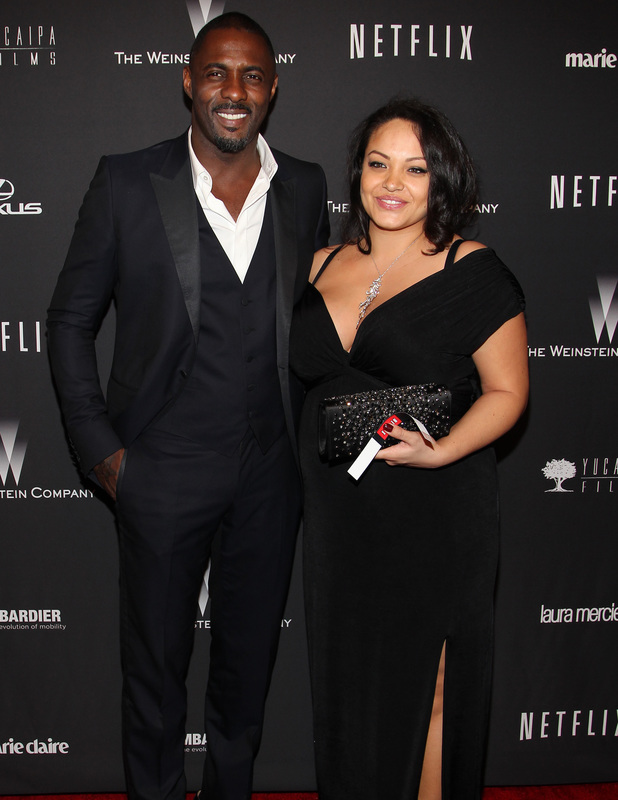 Idris Elba and pregnant girlfriend Naiyana Garth at the 71st Annual Golden Globe Awards - Weinstein Party at The Beverly Hilton Hotel