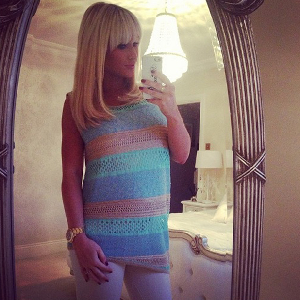 Billie Faiers models a knitted vest from Minnies Boutique, 14 April 2014
