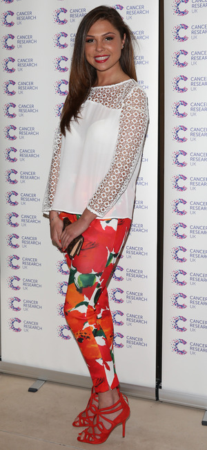 TOWIE's Fran Parman attends the Jog On To Cancer charity fundraiser at Kensington Roof Gardens in London - 9 April 2014