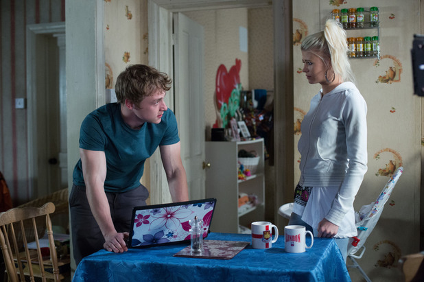 EastEnders, troll messages on Lucy's account, Mon 28 Apr