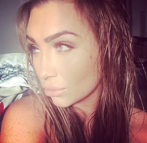 Lauren Goodger shows off her hair and make-up (which she did herself) for Superdrug's 50th birthday party, 1 Marylebone, London, 23 April 2014