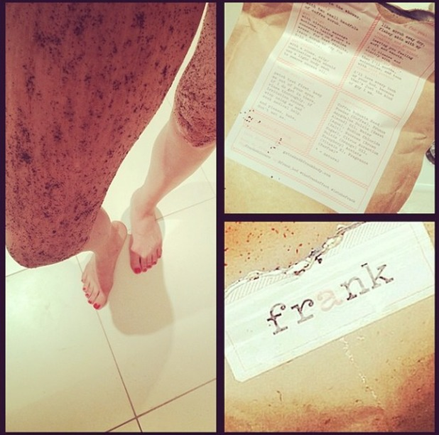 Jessie J shows off her legs covered in Frank Original Coffee Scrub, 22 April 2014