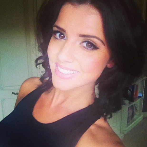 Former TOWIE star Lucy Mecklenburgh posts a selfie after filming workouts for Results With Lucy - 24 April 2014