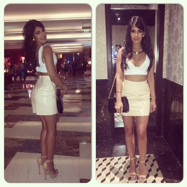 TOWIE's Jasmin Walia poses in a PVC skirt and white crop top while on holiday in Dubai - 23 April 2014