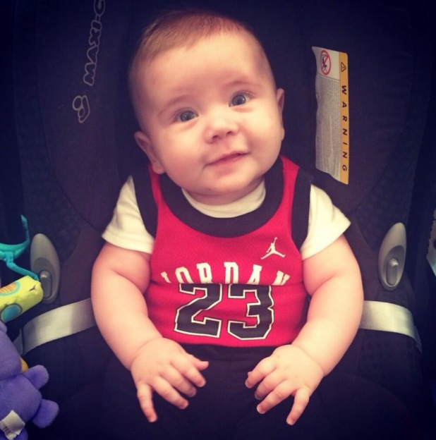 Dan Osborne shares a picture of his son Teddy wearing a basketball vest - 25 April 2014