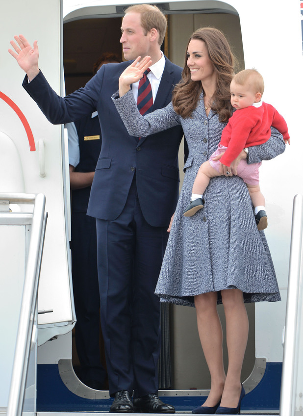 Prince William and Catherine Duchess of Cambridge visit Canberra, Australia - 25 Apr 2014 Catherine Duchess of Cambridge and Prince George at RAAF Base Fairbairn 25 Apr 2014