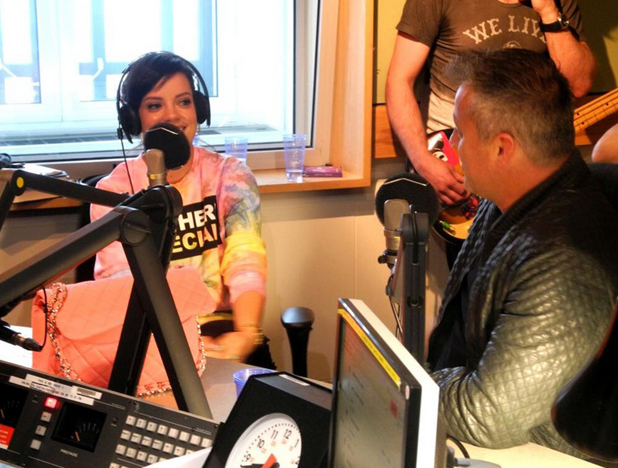Matt LeBlanc meets Lily Allen while at the BBC Radio 2 studios in London promoting the third series of Extras, 25 April 2014