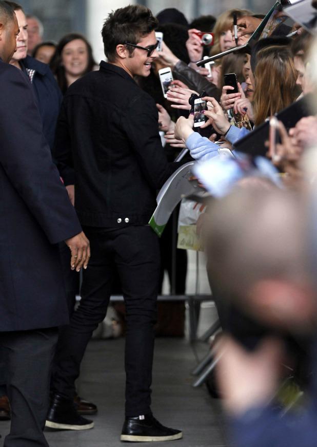 Zac Efron outside the BBC Radio 1 studios, 24 April 2014