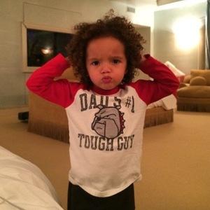 Mariah Carey's son Moroccan flexes his muscles (27 April).