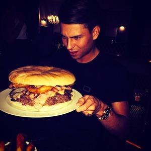 Joey Essex prepares to eat a huge burger, 2 May 2014