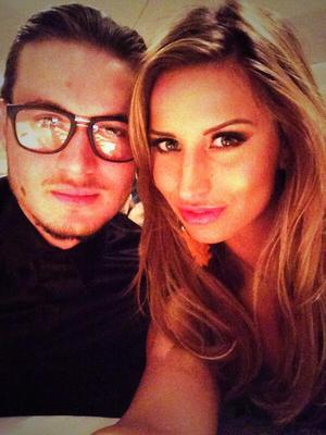 TOWIE's Ferne McCann and Charlie Sims pose for selfie (12 April 2014).