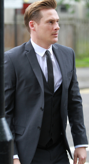 Lee Ryan arrives at Ealing Magistrates Court with Simon Webbe, Duncan James and Antony Costa - 2 May 2014