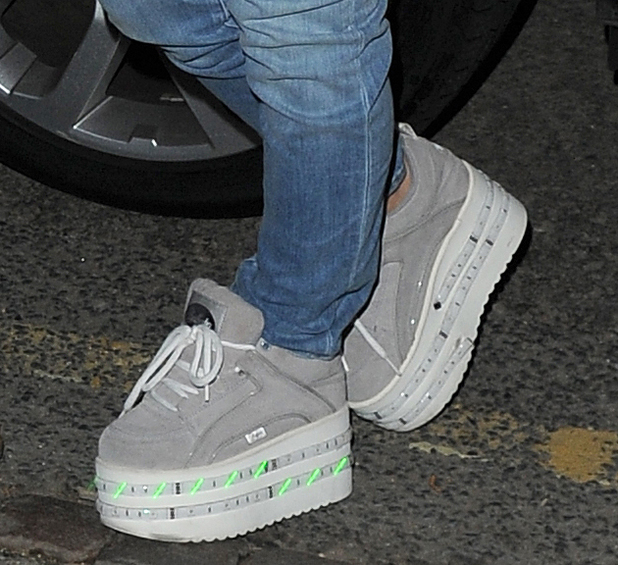 Lily Allen wears her light-up Buffalo trainers while out in London, England - 28 April 2014