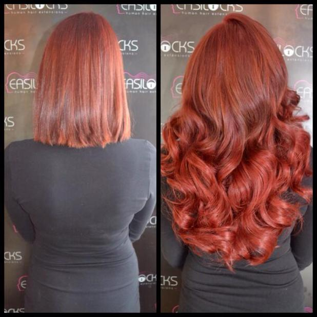 Amy Childs' new Easilocks hair extensions, 27 April 2014