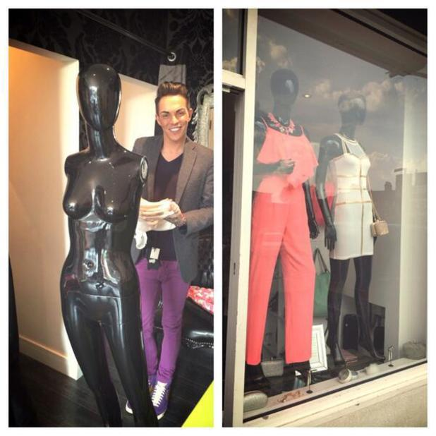 TOWIE's Bobby Norris dresses the window of Harry's World in Essex for boyfriend Harry Derbidge - 30 April 2014