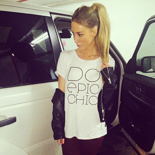 TOWIE's Lauren Pope wears 'Do Epic Chic' slogan T-shirt from her own collection for InTheStyle.co.uk - 1 May 2014