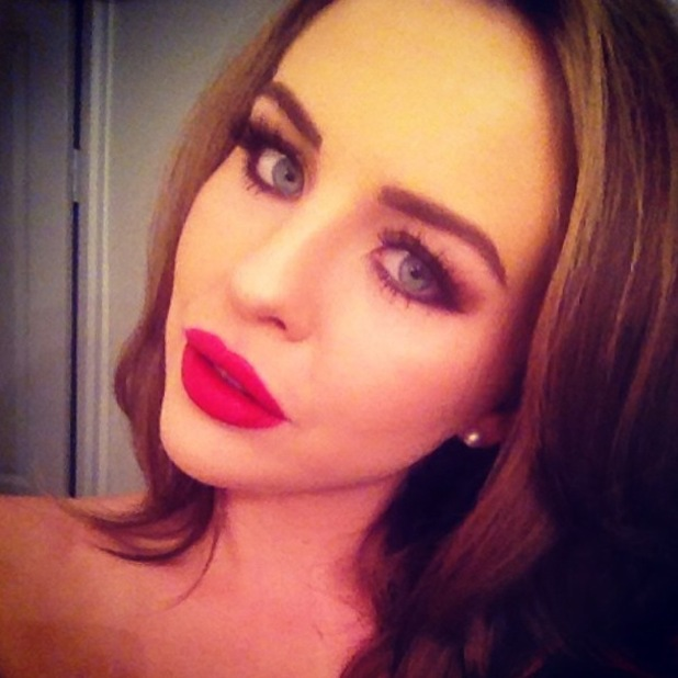 Lydia Bright takes an Instagram selfie flaunting smoky eyes and matte red lips ahead of a girls' night out - 28 April 2014