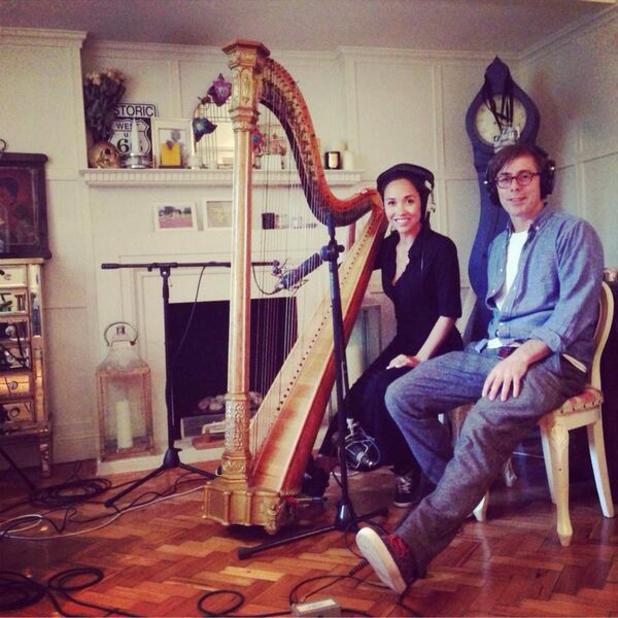Myleene Klass poses with Felix Jaxx while recording in the studio with him - 29 April 2014