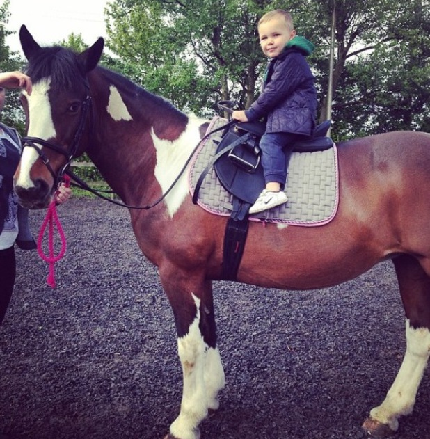 Danielle Lloyd takes her sons Archie and Harry horse riding - 28 April 2014