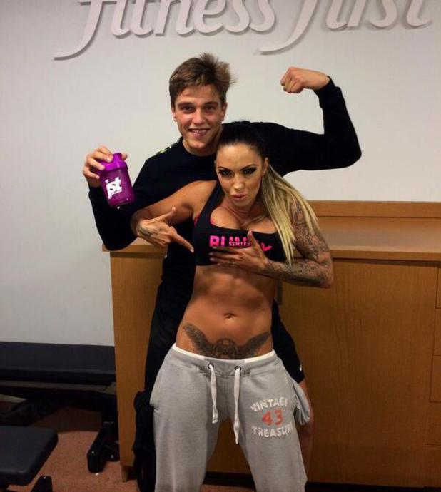 Jodie Marsh and Lewis Bloor work out in Brentwood, Essex (2 May).