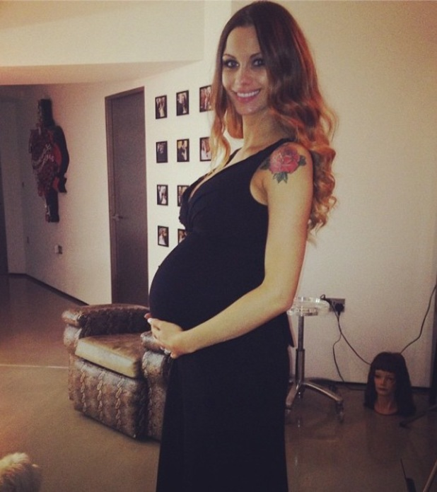 Jessica-Jane Clement shows off her baby bump while at home - 29 April 2014