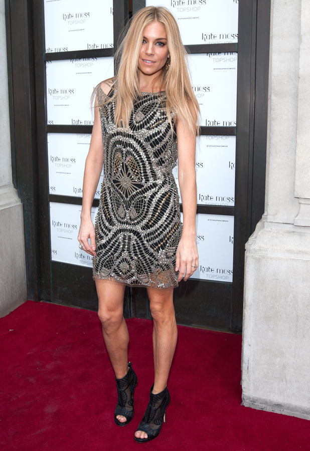 Sienna Miller steps out at the Kate Moss for Topshop launch event at Topshop Oxford Street, London - 29 April 2014
