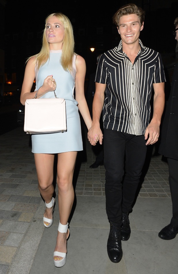 Pixie Lott and Oliver Cheshire step out at the Chiltern Firehouse in London, England - 30 April 2014
