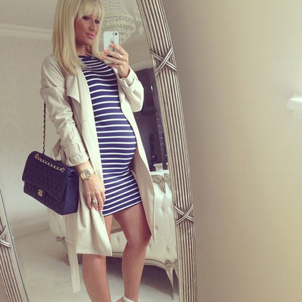 Pregnant Billie Faiers takes a selfie in front of her bedroom mirror, 27 April 2014