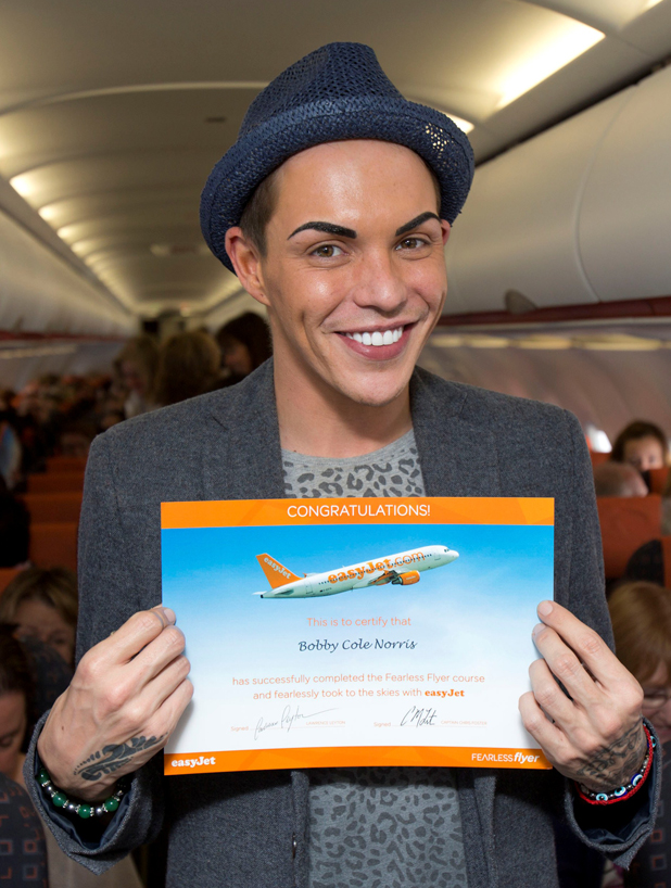 Bobby Cole Norris faces fear of flying with easyJet Fearless Flyer course, April 2014