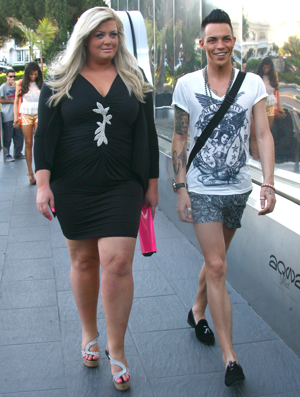 Bobby Cole Norris and Gemma Collins arrive for dinner at La Sala Restaurant on their first day in Marbella, 2014