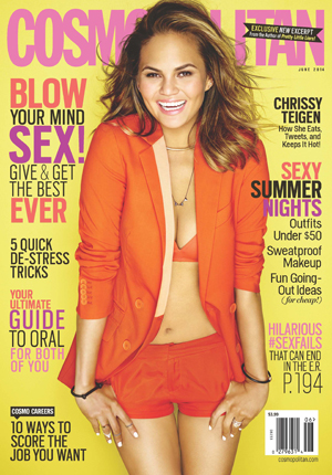 Chrissy Teigen is photographed by Eric Ray Davidson for the June 2014 issue of Cosmopolitan US, available 6 May.