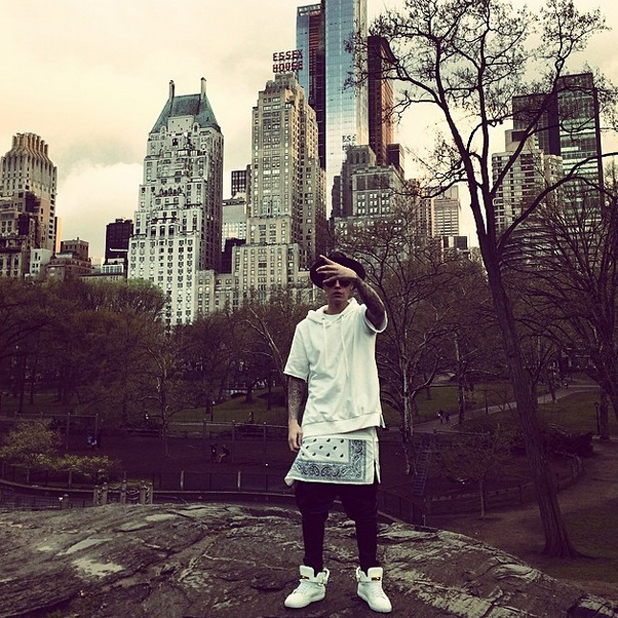 Justin Bieber in Central Park, where he wanted to propose to his future wife, April 2014