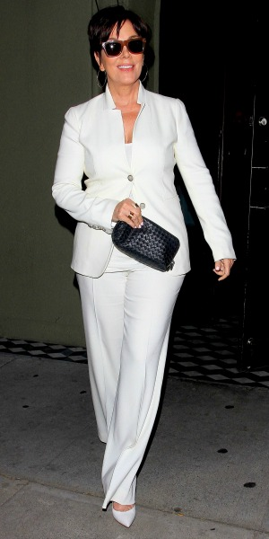 Kris Jenner wearing a white suit leaves Craig's Restaurant in West Hollywood, 29 April 2014