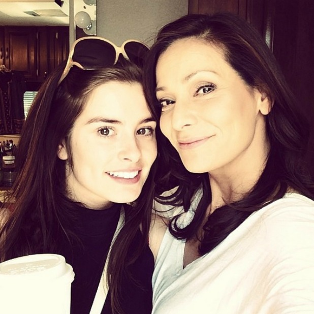 Rachel Shenton and Constance Marie on the set of Switched At Birth, 2014
