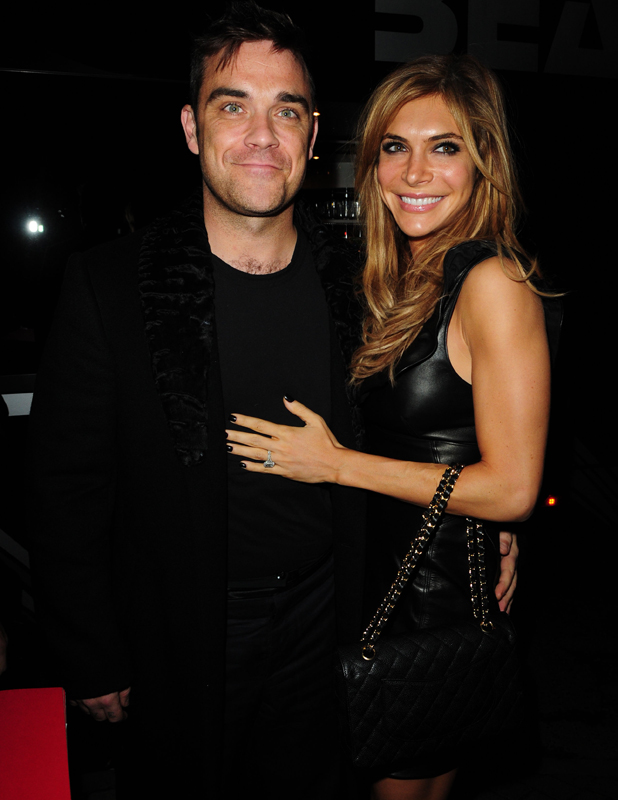 Robbie Williams and wife Ayda Field, 'Pantos on Strike' at the Opera House Manchester - Arrivals Manchester, England - 16.11.10