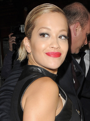 Rita Ora arriving back at a hotel with a strange hairstyle, 7 May 2014