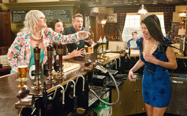 Emmerdale, Tina throws a drink on Alicia, Wed 7 May