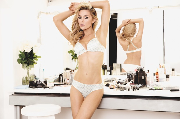 Abbey Clancy models the new 'The One' polka dot lingerie set for Ultimo - 6 May 2014