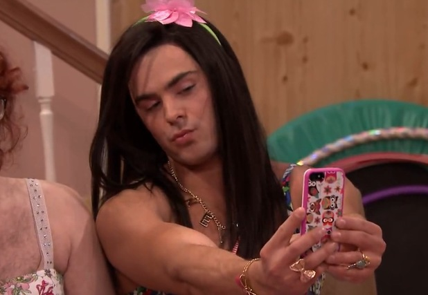 Zac Efron dresses up as Teen Nick's Ew! character Britney on The Tonight Show With Jimmy Fallon (7 May).