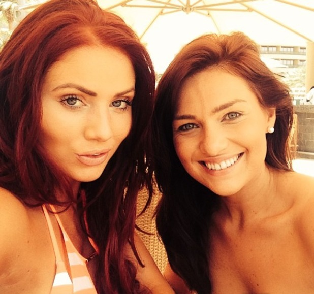 Amy Childs on holiday in Dubai with 'Bessie', 30 April 2014