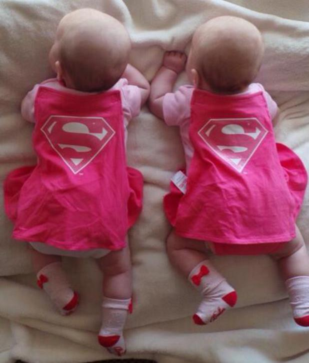 Scott Robinson and his wife Kerry share a new picture of their twin daughters ahead of a fancy dress party - 6 May 2014
