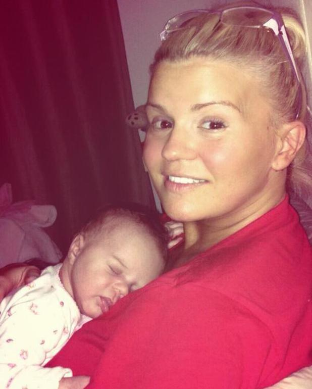 Kerry Katona gives daughter DJ Rose a cuddle before bed - 6 May 2014